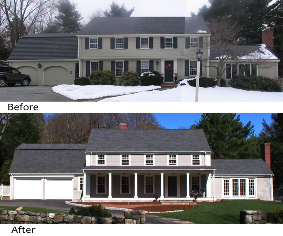 Federal Front Porch Addition, before and after views